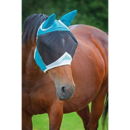 Shires Fine Mesh Horse Equine Fly Mask with Ears 60% UV Protection (Full, Teal)