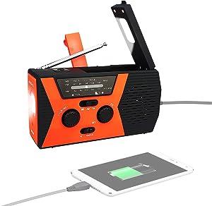 Retekess HR12W Crank Radio Flashlight Cell Phone Charger, Weather Radio Hand Crank Phone Charger, with LED Reading Lamp, 2000mAh Power Bank, SOS Alarm