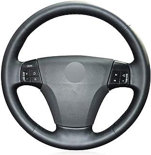 ZIMAwd Handgenähte Autolenkradabdeckung aus schwarzem Leder für Volvo S40 2004 2012 V50 2005 2011 C30 2010 2013