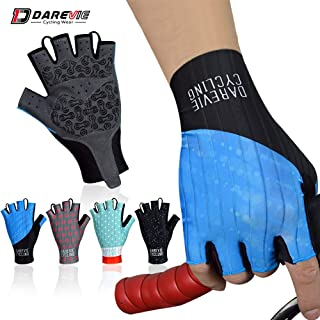 Darevie Cycling Gloves, Shock-Absorbing Cycling Half Finger Gloves, Breathable Bicycling Gloves, Anti-Slip Shockproof Gel Padded Mountain Bike Gloves, Half Finger Biking Gloves for Man, Woman