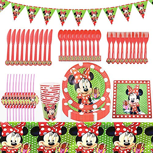 BESTZY Minnie Accessories Game Party Accessories Set Minnie Forniture e bomboniere per Feste di Compleanno, Stoviglie per Feste a Minnie Party Kit (Rosso)