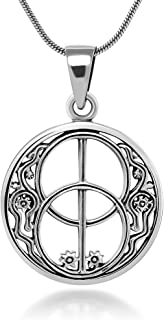 Sterling Silver 22 mm Chalice Well Peace Garden Symbol of Avalon Glastonbury Amulet Necklace 18