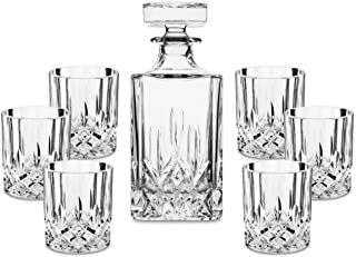 Premium Crystal Whiskey Decanter Set, BRITOR Hand Made Liquor Decanter with 6 Twisted Old Fashioned Glasses for Scotch, Bo...