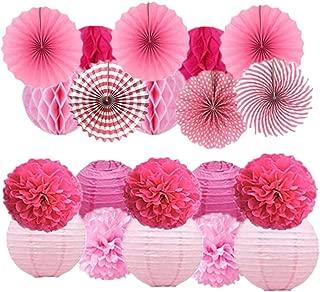 20Pcs Tissue Paper Pom Poms Pink Flowers Paper Honeycomb Balls Paper Lanterns Hanging Paper Fans for Wedding, Birthday, Baby Shower, Nursery, Bridal Shower Decor