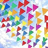 Topeedy Bunting Banner, banderines de Banderín de Nylon 200M con 300 Banderas de Triángulo Grandes para Decoración de Jardín de Casa de Fiesta al Aire Libre de Interior