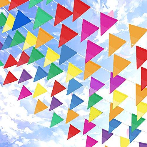 Topeedy Wimpel 200M Mehrfarbig Nylon Wimpel Kette Banner mit 300 großen Dreieck Fahnen für Indoor Outdoor Party Hausgarten Dekoration