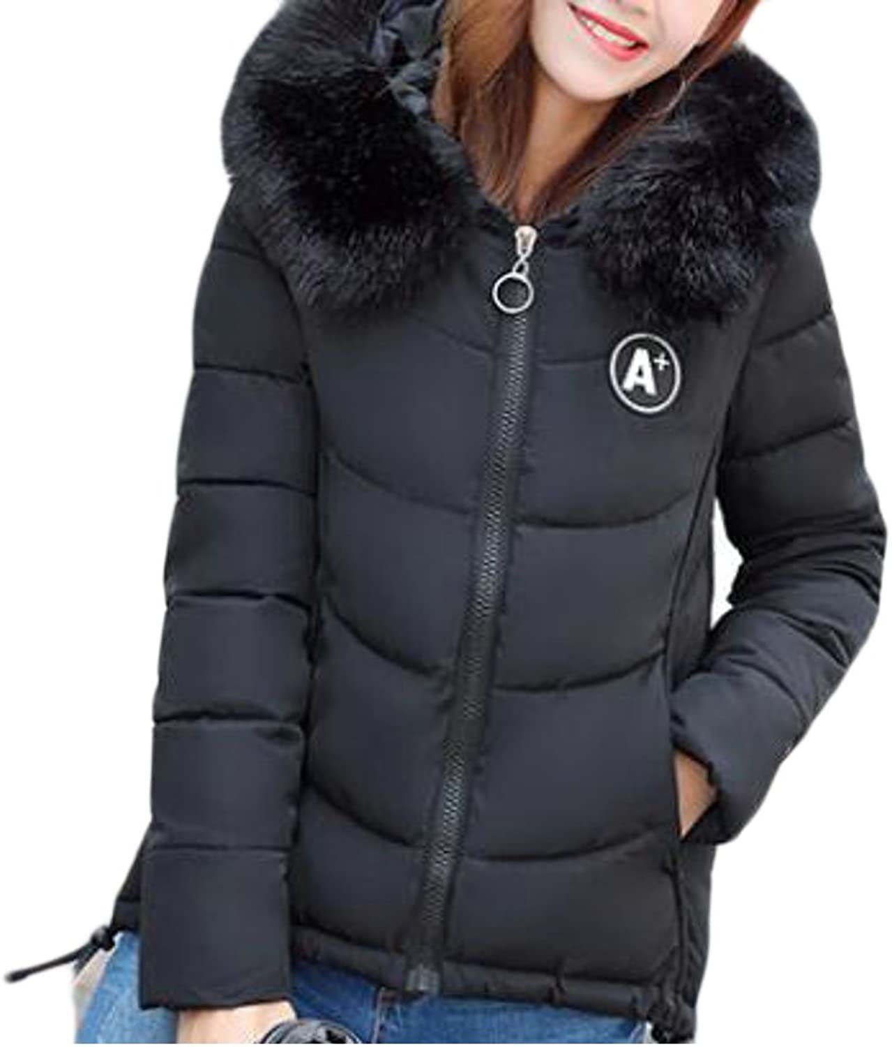 Pandapang Womens Zip Quilted Faux Fur Hooded Overcoat Jacket Parka Coat
