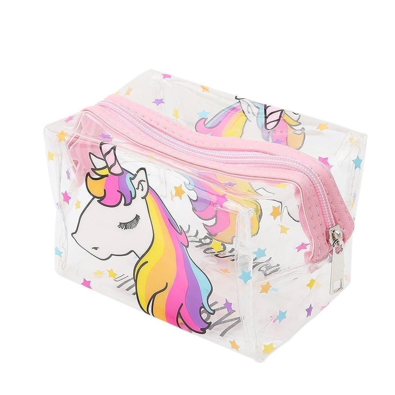 質量クロス咲くXiton 化粧品化粧ポーチ透明化粧トイレ袋ユニコーン化粧鉛筆(ピンク)化粧品袋