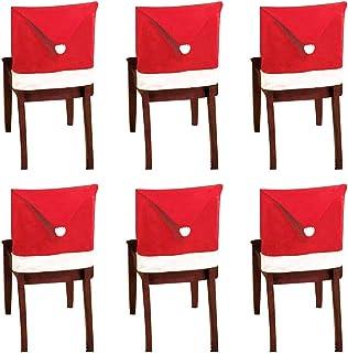 Fundas para sillas navideñas,10 piezas Silla con gorro de Papá Noel con respaldo Funda para silla de comedor Red Hat Fundas para decoración festiva de fiesta navideña,19,7 x 23,6 pulgadas
