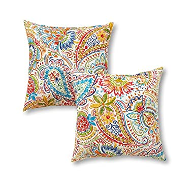 Greendale Home Fashions 17  Outdoor Accent Pillows in Painted Paisley (Set of 2), Jamboree