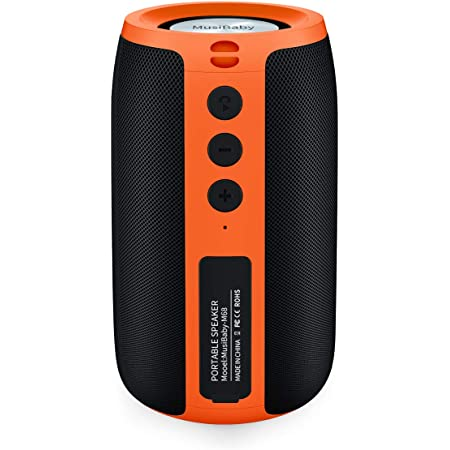 Bluetooth Speaker,MusiBaby Portable Bluetooth Speakers,Portable,Waterproof,Wireless Speaker with Loud Stero and Booming Bass,Dual Pairing,Bluetooth 5.0,24H Playtime for Home,Party (Orange)