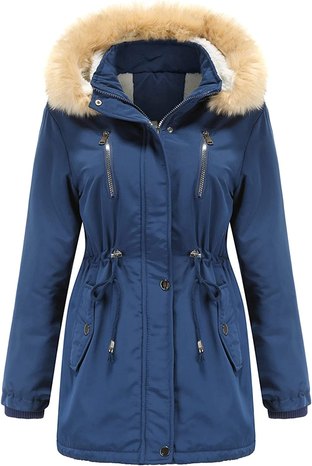BFAFEN Womens Parka Winter Challenge the lowest price of Japan ☆ Coats with Color Hood Reservation Fur Solid Fleec