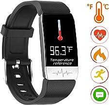 Fitness Tracker HR Couple Watch Smart Bracelet with Temperature Measuring Heart Rate Blood Pressure Blood Oxygen Monitor Pedometer Sleep Monitor Digital Smart Watch Waterproof for Kids Women Men