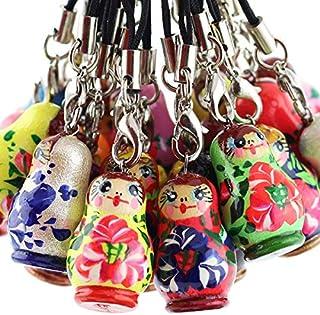 Azhna Lot 20 pcs Surprize Design Flower Style Handpainted Wooden Matryoshka Phone Charms 2.5 cm
