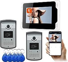 WiFi Video Deurbel, 7 Inch Tuya APP Ontgrendel 1080P Nachtzicht Video Deurtelefoon, Intercom, Monitor + 2 Camera