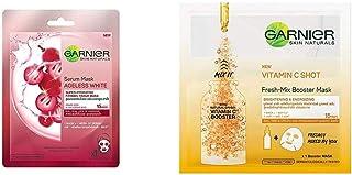 Garnier Skin Naturals, Ageless White, Face Serum Sheet Mask (Red), 32g And Garnier Skin Naturals, Fresh Mix Vitamin C, Fac...