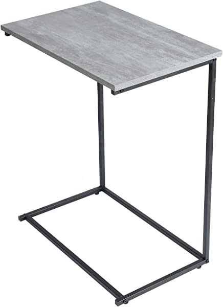 Adeco C Sharped Accent Table Side Table Wooden Style Gray Table Top Accent Furniture With Black Metal Frame 22x14 Inches Table Top Heights 27 2 Inches
