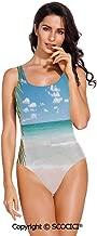 SCOCICI Swimsuit Bikini Dreamy Caribbean Beach with Crystal Clear Water Sky and