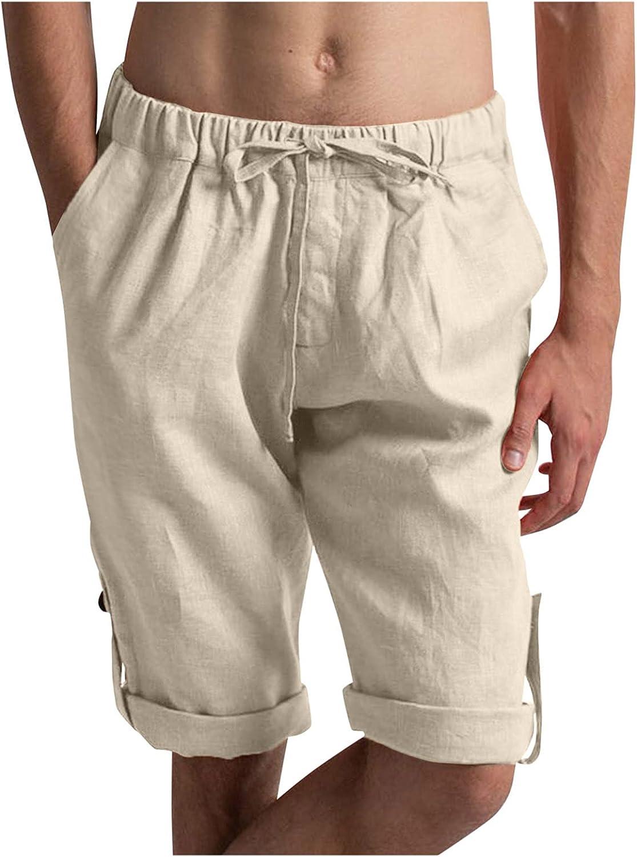 LEIYAN Mens 5 Inch Inseam Linen Shorts Casual Drawstring Elastic Waist Beach Yoga Shorts Summer Classic Harem Shorts