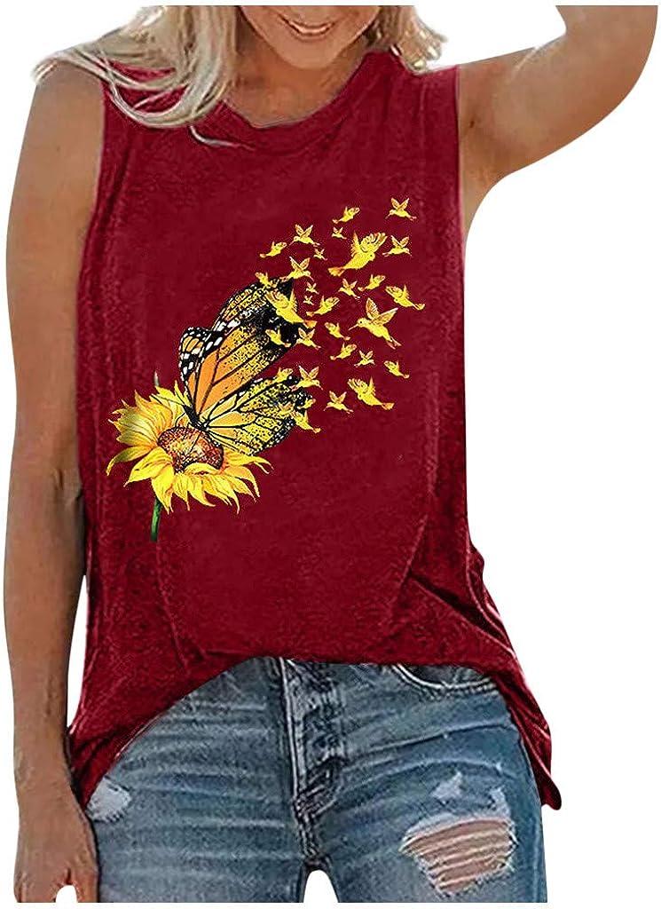Tank Tops for Women,Women's O-Neck Daisy Print Tank Tops for Women Casual Loose Summer Sleeveless Shirts
