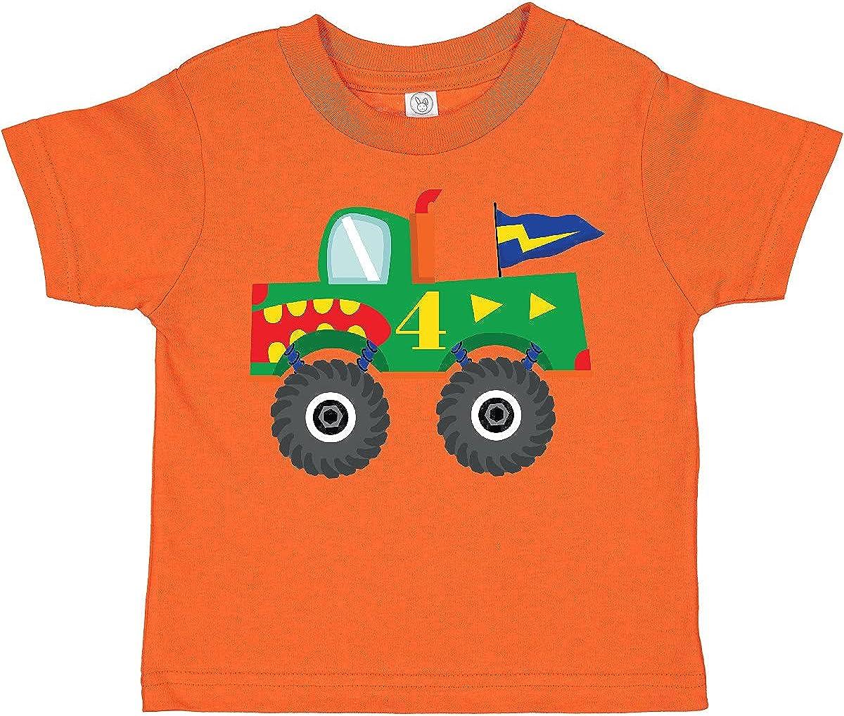 inktastic 4th Birthday Monster Truck Toddler T-Shirt