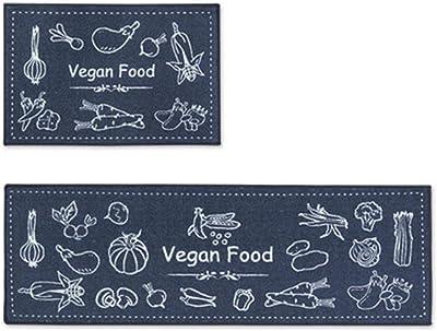 Kitchen mats Cushioned,Long Kitchen Mat Set Anti-Slip Area Rugs for Living Room Bedroom Balcony Porch Bathroom Bath Carpet Entrance Doormat,Vegan Food,40x60cm,Kitchen Carpet