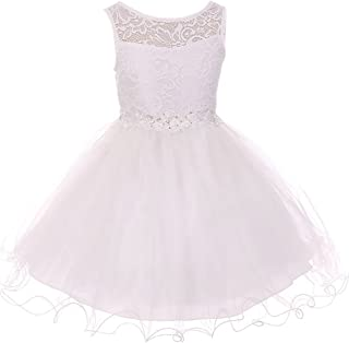 BluNight Collection Little Girls Sleeveless Floral Lace Tulle Knee Length Pageant Flower Girl Dress