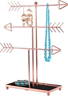 Simmer Stone Jewelry Stand, 3 Tier Arrow Jewelry Organizer with Soft Ring Tray, Decorative Jewelry Holder Display Rack for Necklaces, Earrings and Bracelets, Rose Gold