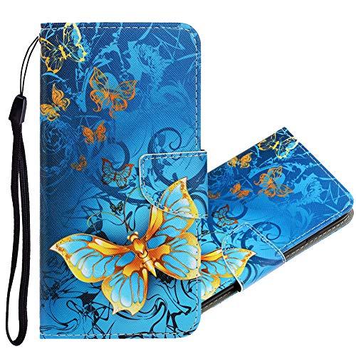 IMEIKONST Klapphüllen für Xiaomi Poco X3 NFC Hülle, Premium PU Leder Handyhülle [Standfunktion][Magnetic][Kartensteckplatz] Schutzhülle Kompatibel für Xiaomi Poco X3 NFC. XC Blue Butterfly