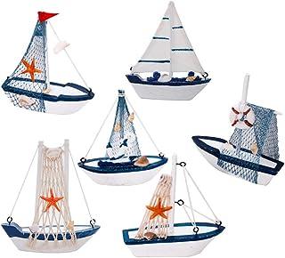 DAYOLY 6pcs Modèle de voilier Décoration Artisanale Bateau de pêche en Bois Jouet de Marine Ornements de Table pour l'anni...