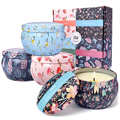 Candle Sets for Women Gift | Balsam + Cedar, Golden Apple Pie, Jasmine + Peach, Honeysuckle + Citrus Natural Scented Candles Long Burning Portable Soy Candle Essential Oils 6 Oz Candle Gift Set of 4