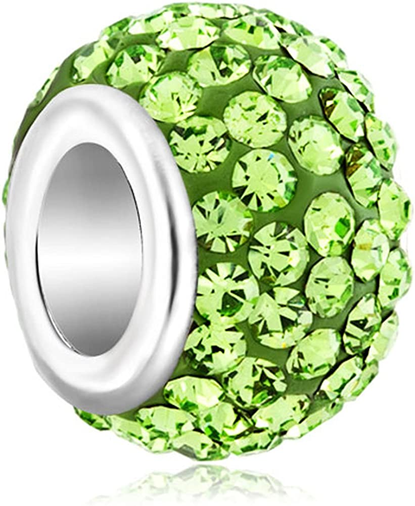 LovelyJewelry Aug Simulated Birthstone Green Synthetic Crystal Charms Bead for Bracelet