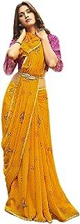 بلوزة صيفية ناعمة بنمط ساري من متجر الخردل للنساء الهندية مطبوعة فاخرة من جورجيت ساري 6221