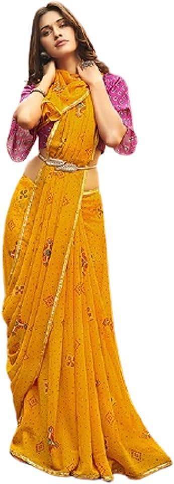 MUSTARD Indian Woman fancy Printed Georgette Sari Designer Summer Soft Saree Contrast Blouse 6221
