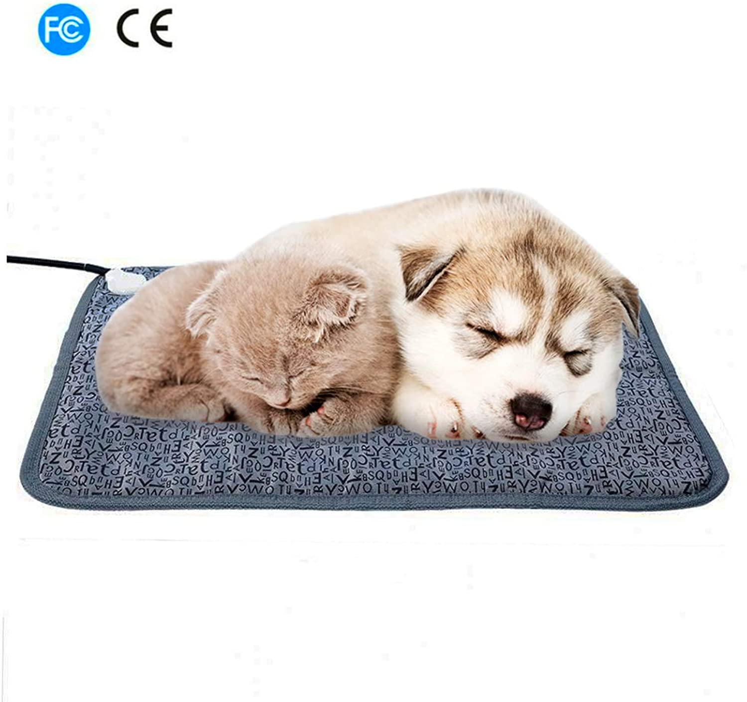 MKDcom Large Pet Heating Pad, Electric Heat Pad for Dogs, Cats, Rabbits, Indoor Waterproof Warming Mat with Chew Resistant Steel 28.3 X 18.9 inches