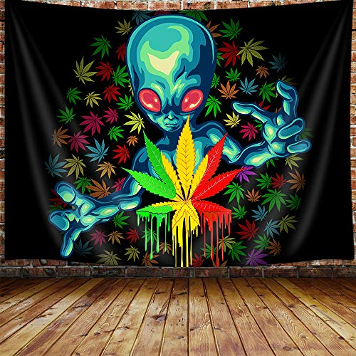 Cool Weed Tapestry for Men, Trippy Alien Stuff Marijuana Leaf Tapestry Wall Hanging for Bedroom, Psychedelic Tie Dye Stoner Tapestries Poster Beach Blanket College Dorm Home Decor (60X40)