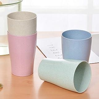 Unbreakable Reusable Drinking Cup, DELFINO 4 Pcs Healthy Lightweight Bamboo Kids Cups Fiber Children Dishware Set (13.5 O...