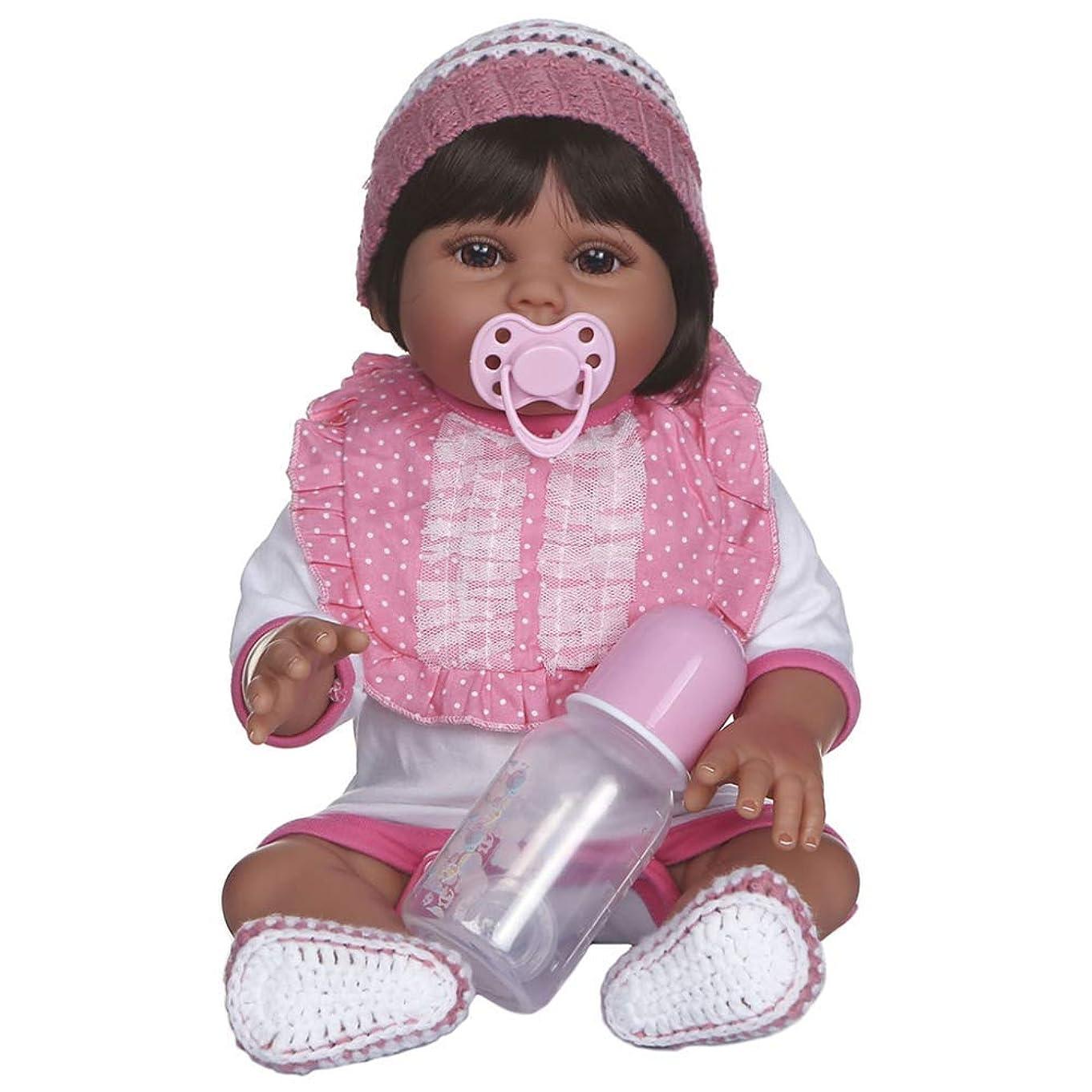 ブロンズ大聖堂付録リボーンベビードール47CMダークタンブラウン肌色Bebe人形リボーンベビーガール人形全身ソフトシリコーン現実的なベビーバスのおもちゃ防水