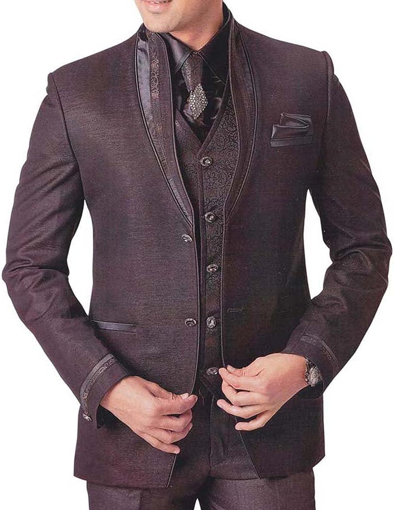 INMONARCH Mens Brown 7 Pc Tuxedo Suit Reception TX0726
