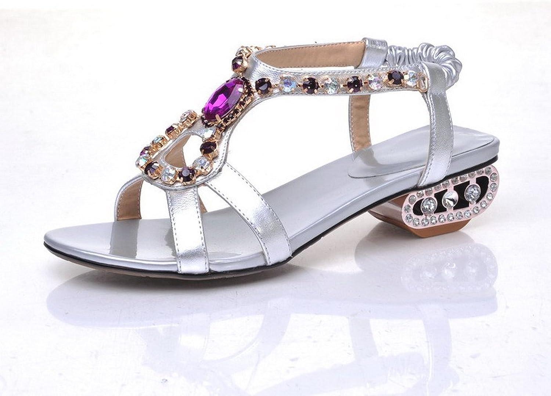 WeenFashion Women's Soft Material Open Toe Kitten Heels Pull On Solid Sandals