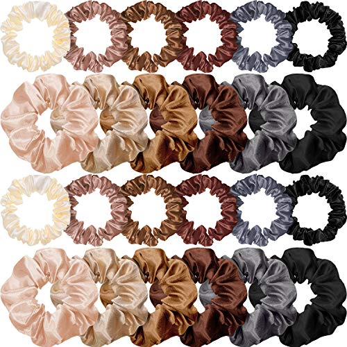 24 Pieces Satin Hair Scrunchies Silk Elastic Hair Bands Skinny Solid Hair Ties Ropes Ponytail Holder for Women Girls Hair Accessories Decorations (Chic Colors)