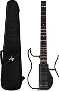Asmuse Guitarra Viaje Eléctrica Plegable con Auriculares AMP Incorporados, Guitarra sin Cabeza de Escala Completa ALP AD-80, Ultra-ligero para Viajes.(Con Salida de Auriculares de 3,5 mm)