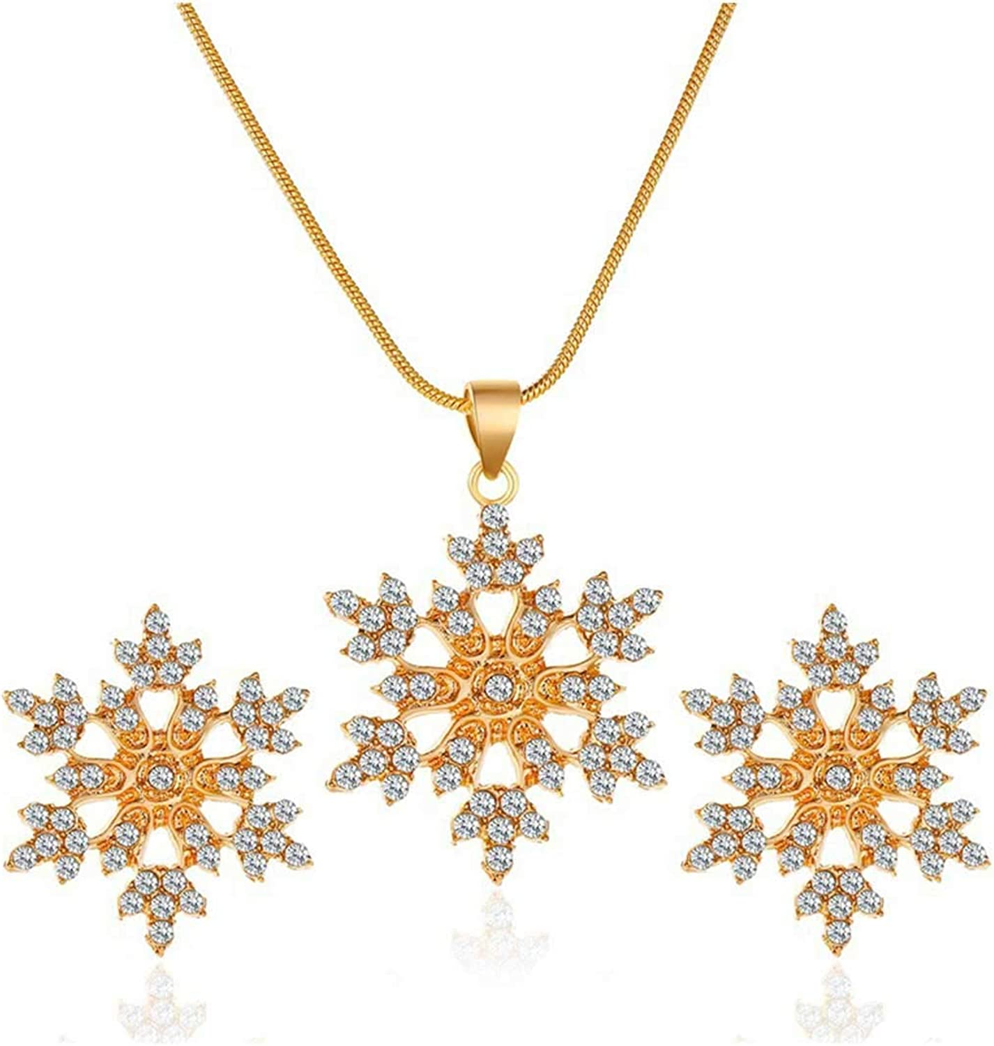 Pingyongchang Sparkly Rhinestone Xmas Snowflake Pendant Earring Necklaces Christmas Snowflake Jewelry Set Novelty Glass Charms Y Style Necklace Stud Earring Jewelryset for Women Girls
