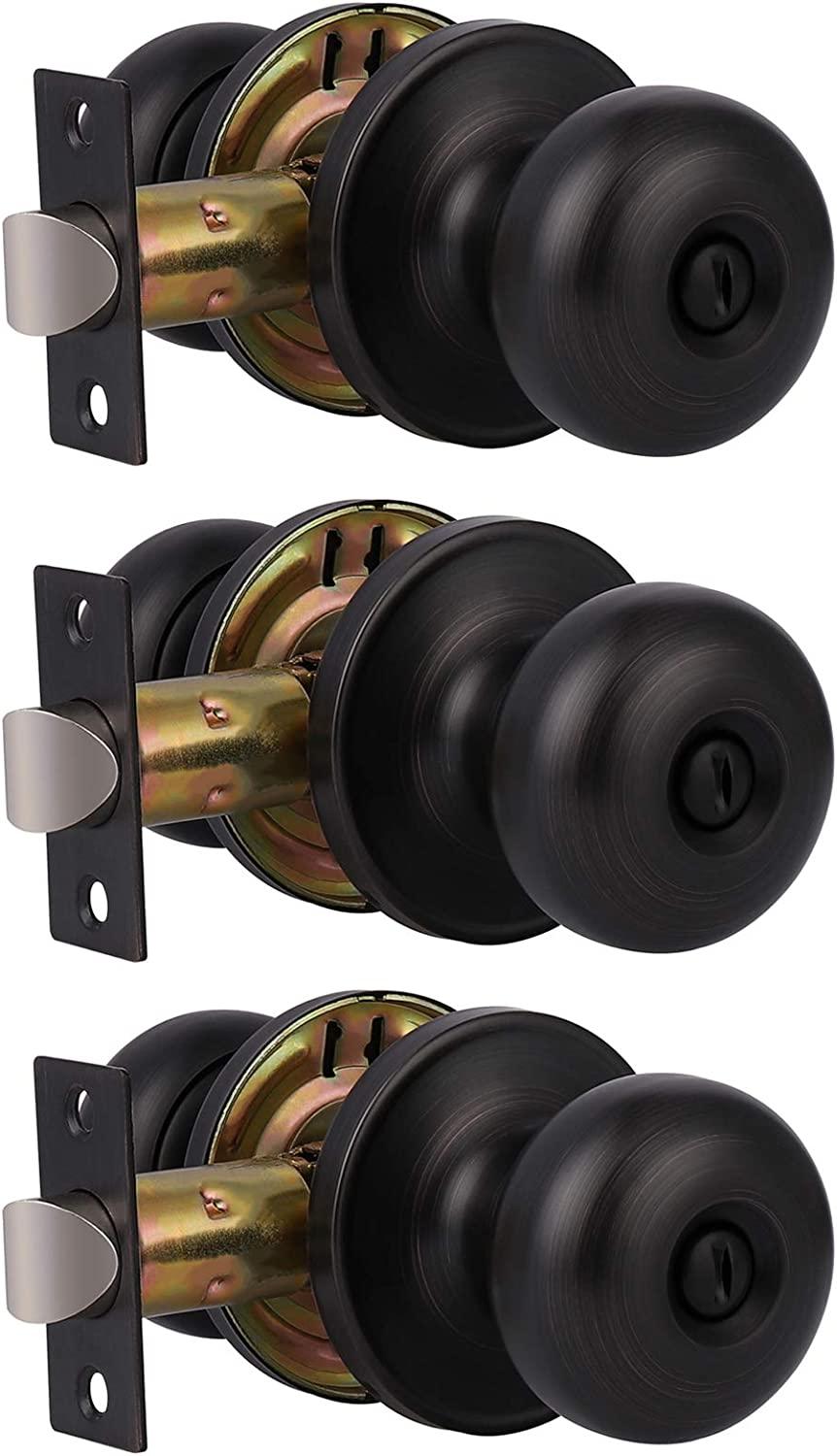 GOBEKOR 3 Pack High order Privacy Door Knobs At the price Doo Oil Rubbed Bronze Interior