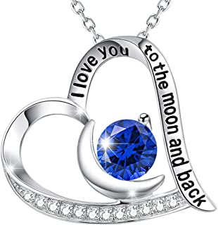 Birthday Jewelry Gifts for Women Teen Girls Mom Sapphire Necklace for Her Wife Anniversary Gifts Sterling Silver Heart Necklace