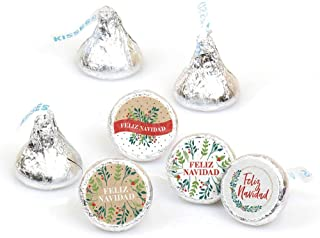 Big Dot of Happiness Feliz Navidad - Holiday and Spanish Christmas Party Round Candy Sticker Favors - Labels Fit Hershey's Kisses (1 Sheet of 108)