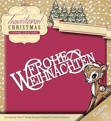 """Yvonne Creations Stanz- und Prägeschablone YCD10058, \""""Traditional Christmas - Frohe Weihnachten\"""" (Schriftzug), Schablone ca. 2,7 cm x 7,7 cm"""