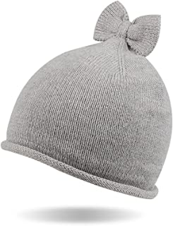Kasular Baby Toddler Knit Beanie Cap Winter Warm Infant Girls Soft Hat Cotton Lined with Bowknot