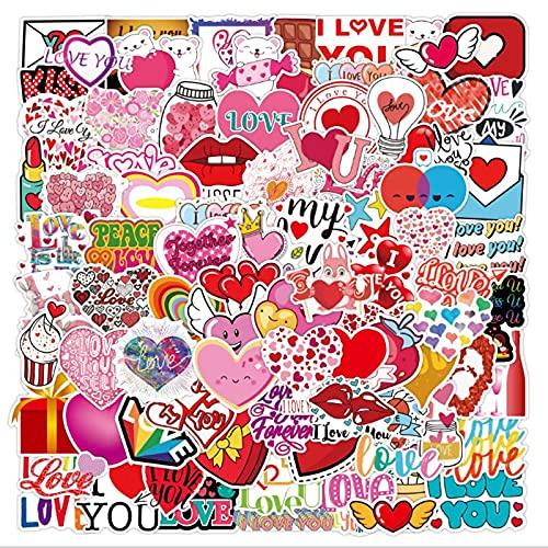 DUOYOU Amor Día de San Valentín Graffiti impermeable Skateboard Maleta de viaje teléfono portátil equipaje pegatinas lindo niños niña juguetes 100 piezas
