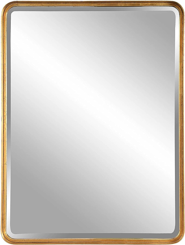 Uttermost Crofton Antiqued Gold Boston Mall Leaf Mirror 30